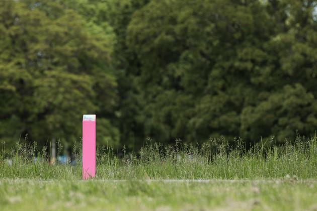 An einem Blumenbeet aufgestellte rosa Stele