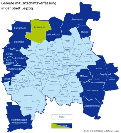 Karte der Leipziger Ortsteile und Ortschaften - Lindenthal hervorgehoben