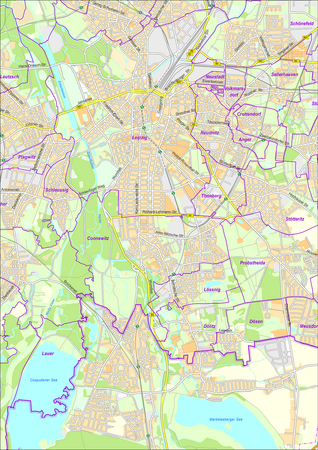 Stadtplan der Stadt Leipzig mit Gemarkungen