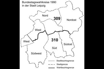 Bild wird vergrößert: Karte mit den Bundestagswahlkreisen 1990 in der Stadt Leipzig.