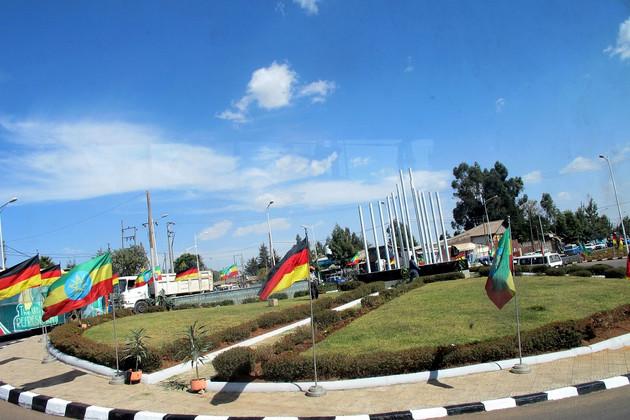 Blick auf Leipzig Square in Addis Abeba