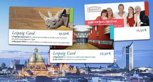 Silhouette Leipzigs mit drei verschiedenen Leipzig Cards (Angebotskarten)
