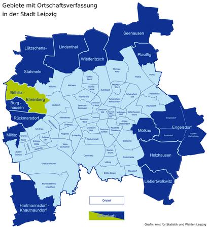 Karte der Leipziger Ortsteile und Ortschaften - Böhlitz-Ehrenberg hervorgehoben