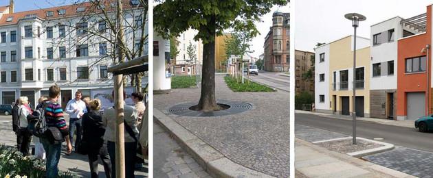 Fotocollage aus drei Fotos mit Infoveranstaltung und Häusern im Leipziger Osten