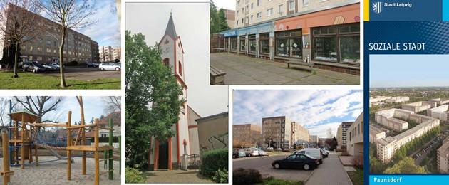Einblick in den Ortsteil Paunsdorf mit Kirche, Neubaublöcken, neu saniertem Spielplatz, Bibliothek