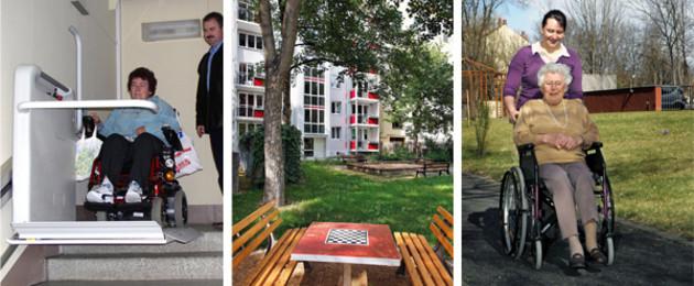 Drei Bilder sind hier zu sehen: eine Frau an einem Treffenlift, eine Grünanlage mit Schachbrett in Grünau und eine ältere Dame im Rollstuhl mit einer jüngeren Frau dahinter