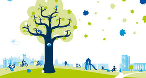 Gezeichnetes Bild von Grünau: Herbstlicher Baum mit Grünau im Hintergrund. Mehrgenerationenspielplatz im Park.