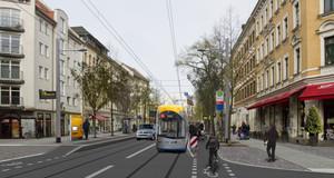 Visualisierung des geplanten Straßenraumes im Bereich Haltestelle Pfeffingerstraße. Straße mit Straßenbahn, Autos, Radfahrer und Fußgängern.