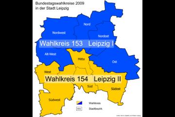Bild wird vergrößert: Karte mit den Bundestagswahlkreise 2009 in der Stadt Leipzig.