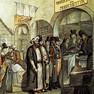 Handelsszene mit jüdischen Kaufleuten am Leipziger Brühl, um 1825