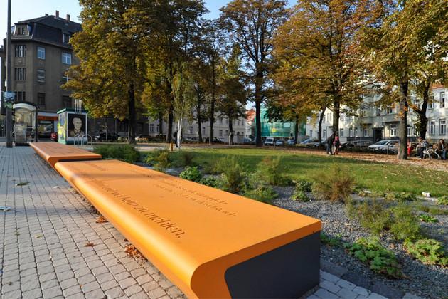 Bänke und Grünanlage am Stannebeinplatz