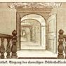 Historische Zeichnung des Eingangs zum Saal der 1711 eröffneten Ratsbibliothek.