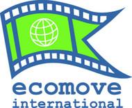 Logo des ECOMOVE International e. V., grüne Fahne mit Erdkugel und Schrift