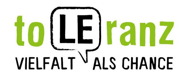 Logo. toleranz mit großen Buchstaben L und E; darunter Vielfalt als Chance