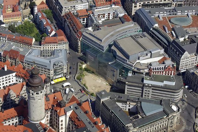 Blick aus der Luft auf den heutigen Burgplatz