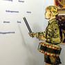 """Detail des ausstellungsraums """"Schule unterm Hakenkreuz"""". Mit Figurine in HJ-Uniform, mit Trommel und Schlägeln vor einer Propagandawand."""