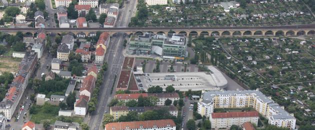 Luftbild Georg-Schumann-Straße mit Viadukt