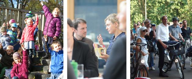 Drei Bilder: Kinder zeigen mit den Händen auf, Bürger unterhalten sich, Sprechstunde des Oberbürgermeisters im Waldstraßenviertel