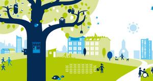 Themenbild für die Veranstaltung: ein grüner Baum vor einer Stadtshilouette