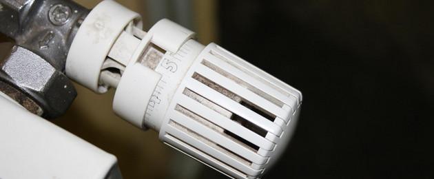 Ein Thermostatventil einer Heizung, das auf fünf gestellt ist