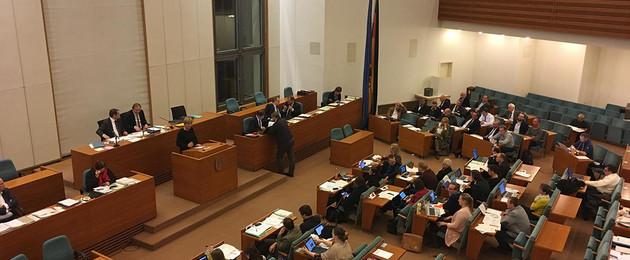 Sitzungssaal des Stadtrates mit vielen Stadträtinnen und Stadträten während einer Ratsversammlung.