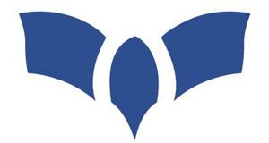 dreiteiliges blaues Logo, das ein bisschen aussieht wie ein Vogel von oben, der die Flügel ausbreitet