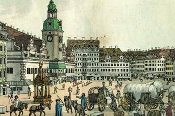 Bild wird vergrößert: Der Leipziger Marktplatz um 1800 von der Katharinenstraße aus gesehen, kolorierte Radierung Carl Benjamin Schwarz'