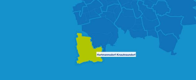 Karte mit den Umrissen der Leipziger Ortsteile. Hartmannsdorf-Knautnaundorf ist hervorgehoben.