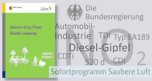 Titelseite des Green City Plans und danebenstehend textliche Benennung der Beteiligten am Dieselgipfel, des Luftschadstoffs NO2, einzelner Abkürzungen für Dieselmotortechnik deutscher Automobilbauer und des Sofortprogramms Saubere Luft