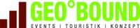 Logo von GEO°BOUND, grüne Schrift mit braunen Säulen