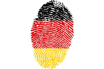 Bild wird vergrößert: Ein Fingerabdruck mit schwarz-rot-gelber Einfärbung