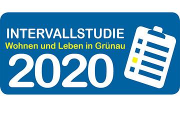 Bild wird vergrößert: Auf blauem Grund steht Intervallstudiie 2020 - Wohnen und Leben in Grünau