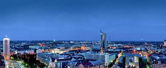 Leipzig Panorama bei Nacht