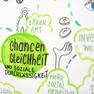 Bildaussschnitt: eine grüne Weltkugel in der Chancengleichheit steht.