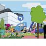 Bunte Zeichnung eines Stadtszenarios mit zwei Kinder auf Rollschuhen, einem Lastenfahrrad, einem Fußgänger, einer Straßenbahn und einem kleinen E-Mobil. Im Hintergrund viel Grün und die Höfe am Brühl.