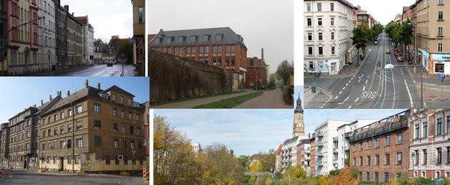 Fotozusammenstellung von Klimaquartieren in Leipzig