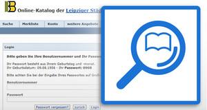 Bildschirmfoto vom Online-Katalog mit Eingabefeld Benutzernummer und Passwort, davor Grafik mit Lupe und aufgeschlagenem Buch