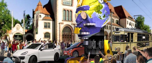 Visualisierung einer überlebensgroßen Skulptur zum StadtFestSpiel in einer Menschenmenge