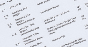 Ausschnitt einer Liste der Workshopangebote des Leipziger Schulmuseums.