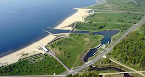 Luftbild vom Cospudener See
