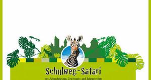 Logo mit Schriftzug: Schulweg-Safari, Aktion für einen sicheren Schulweg, im Grünton gehalten in der Mitte schaut freundlich ein Zebra