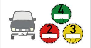 Autosymbol neben grüner, gelber, roter Umweltplakette