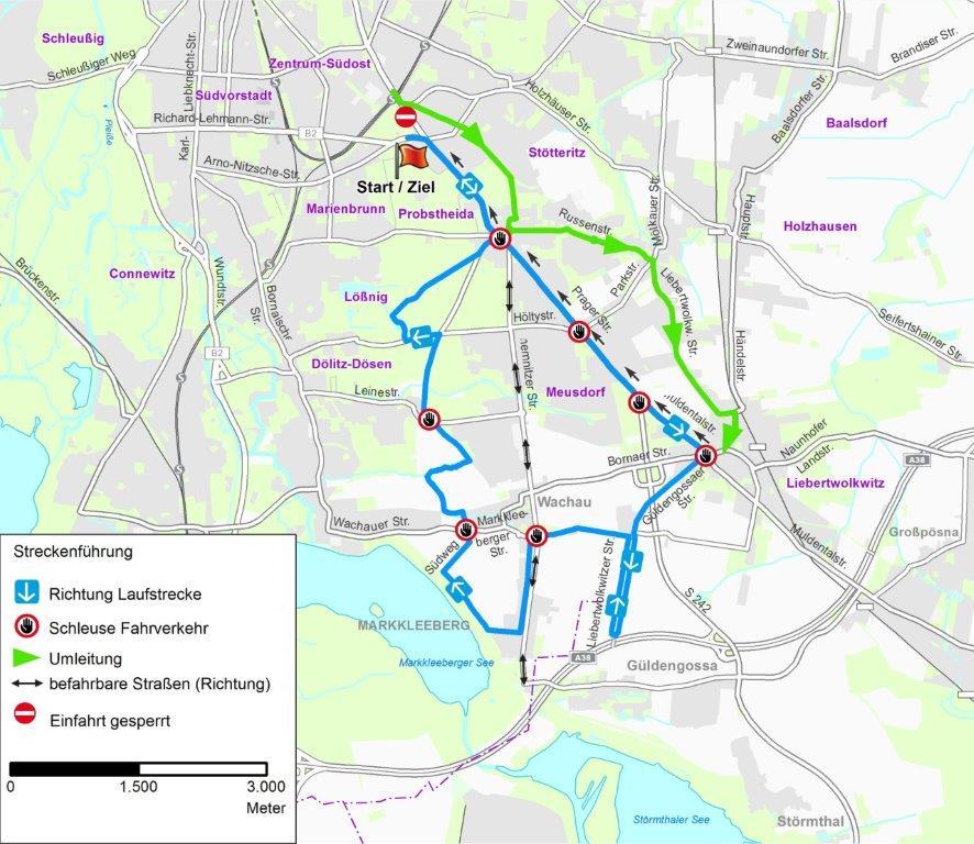 Stadtplanansicht der Strecke des Leipziger Halbmarathons 2019