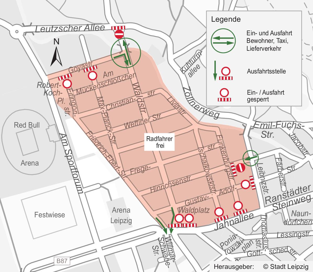 Stadtplanausschnitt mit rot markiertem Areal