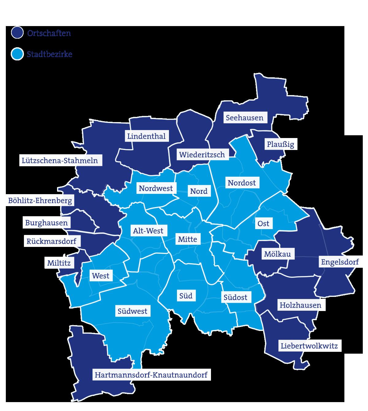 Karte Ortschaftsräte und Stadtbezirksbeiräte