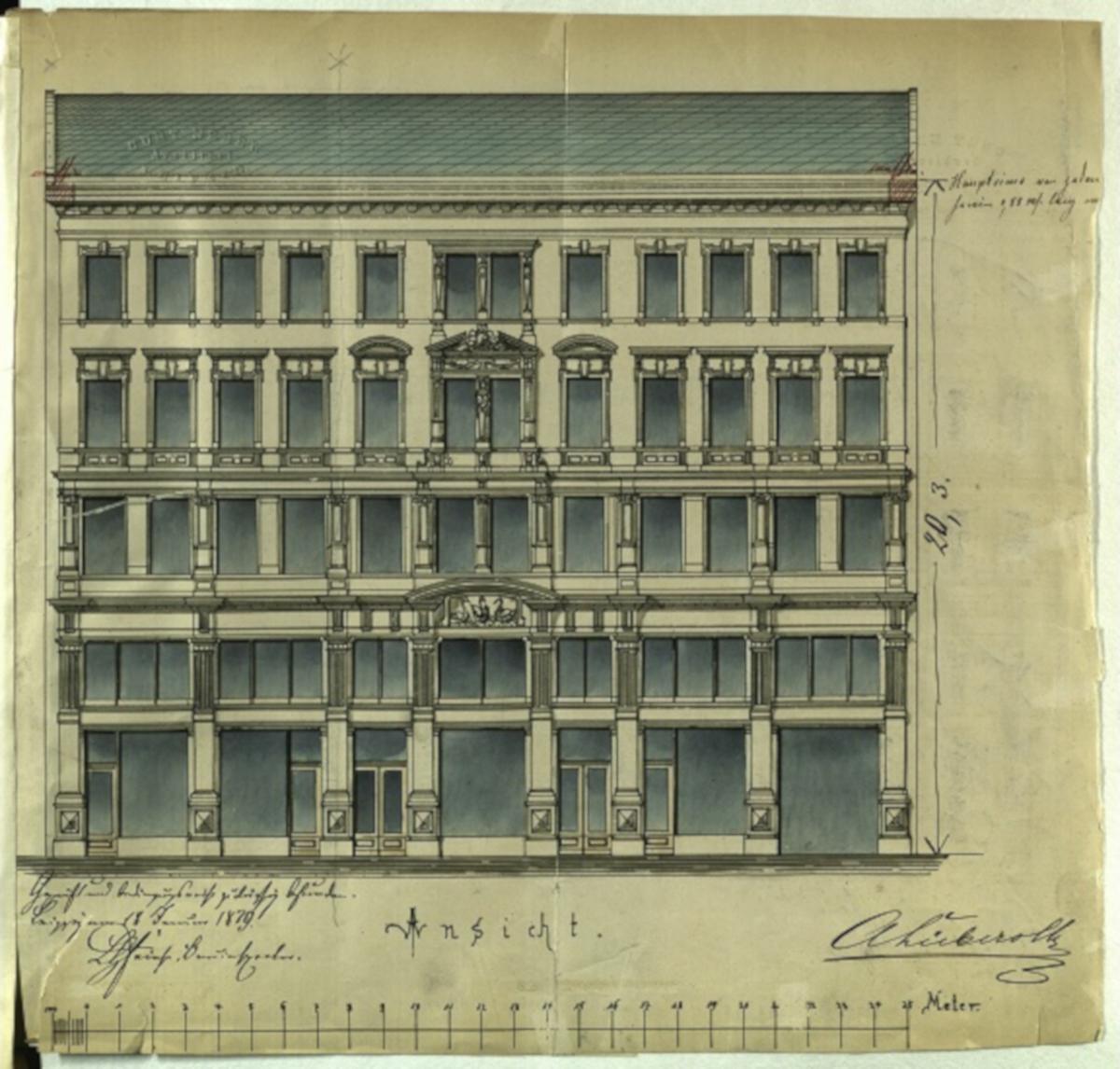 Alte Zeichnung einer Hausfassade