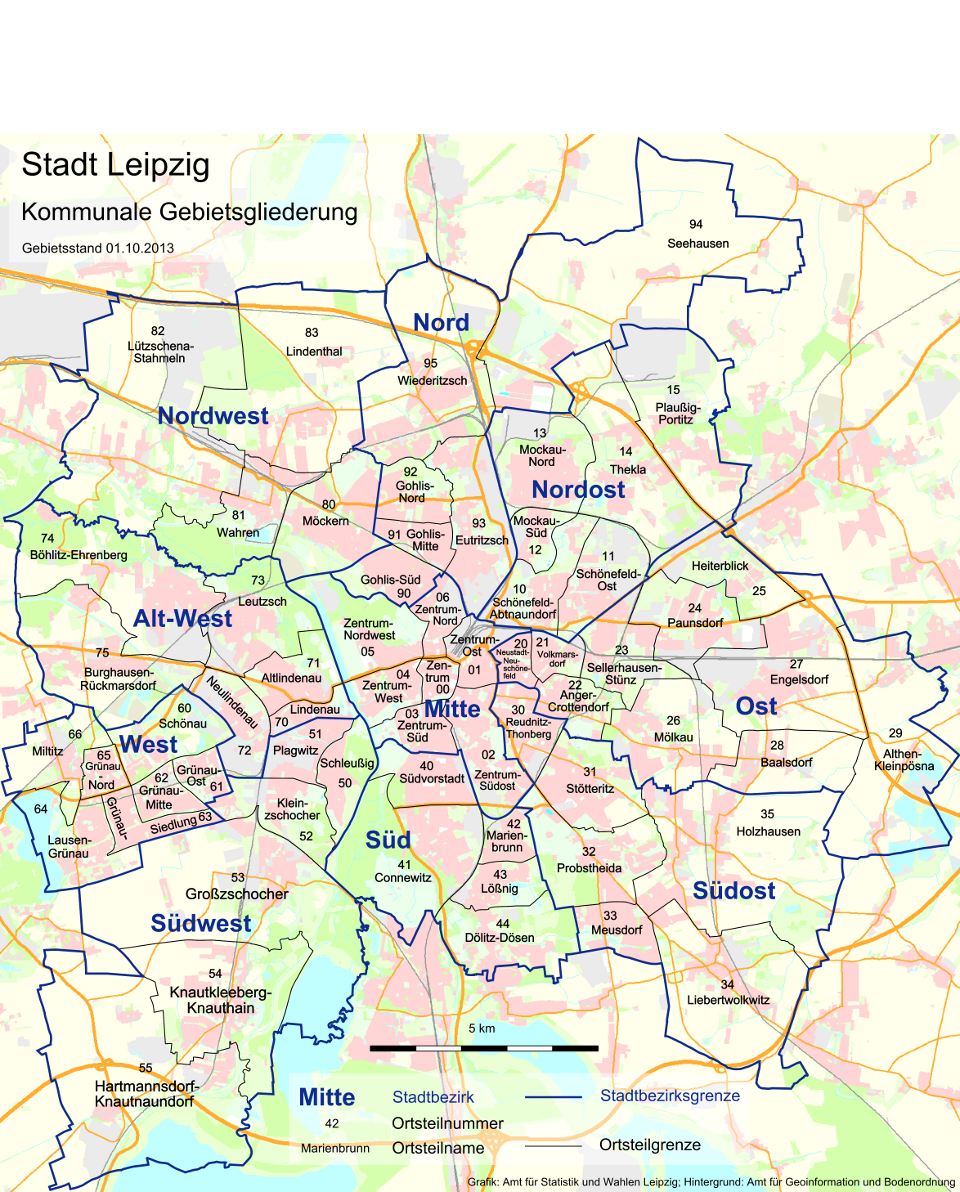 Leipzig Karte Mit Stadtteilen.Kommunale Gebietsgliederung Stadt Leipzig
