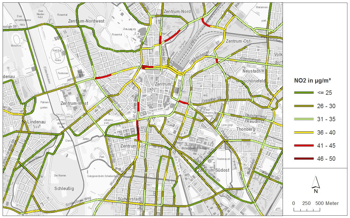 Stadtplanausschnitt von Leipzig. Die großen Straßen sind farbig gekennzeichnet, je nach Stickstoffbelastung rot, gelb oder grün