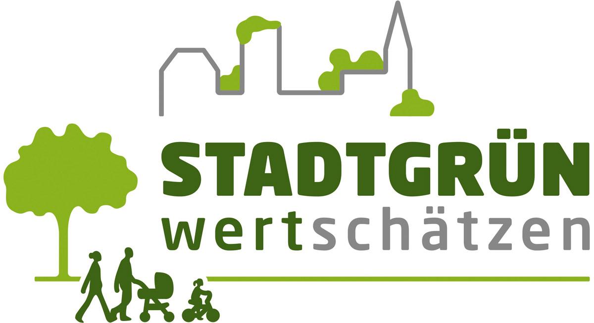 Logo für das Projekt Stadtgrün wertschätzen mit einer Stadtsilhouette und einer Familie, die spazieren geht.