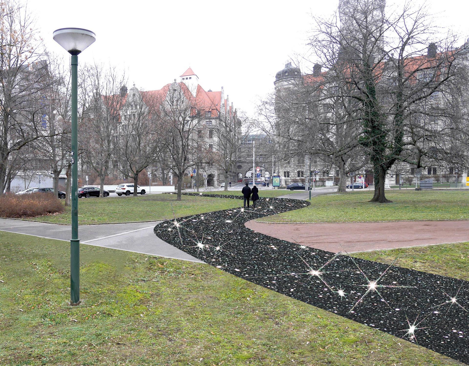 Auf dem Weg zum Neuen Rathaus ist ein Weg aus dunklem Material mit leuchtendem Elementen dargestellt.